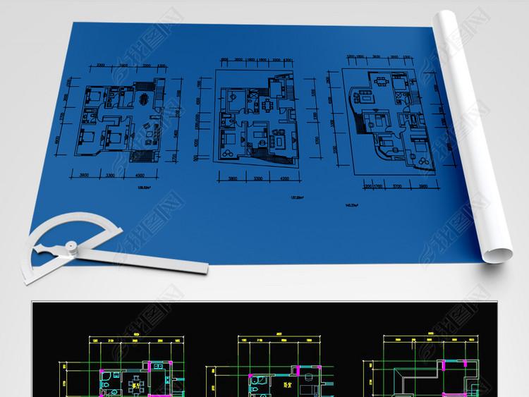 125-200多平住宅户型CAD图纸