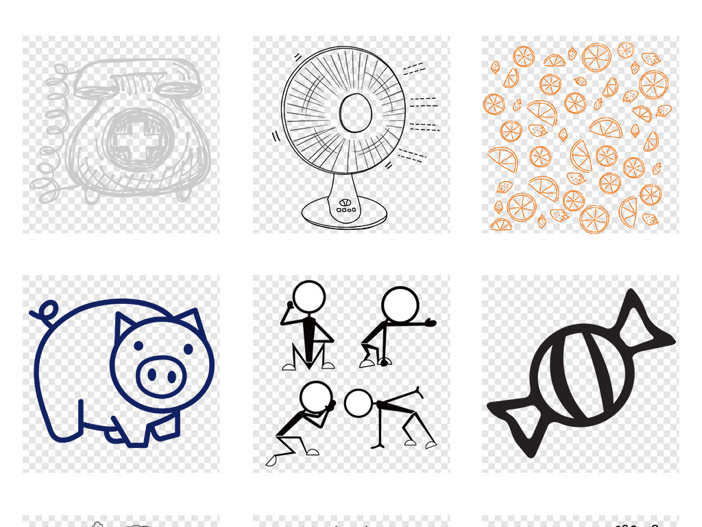 卡通手绘涂鸦线条简笔画白描画PNG素材图片 模板下载 37.79MB 居家物品大全 生活工作