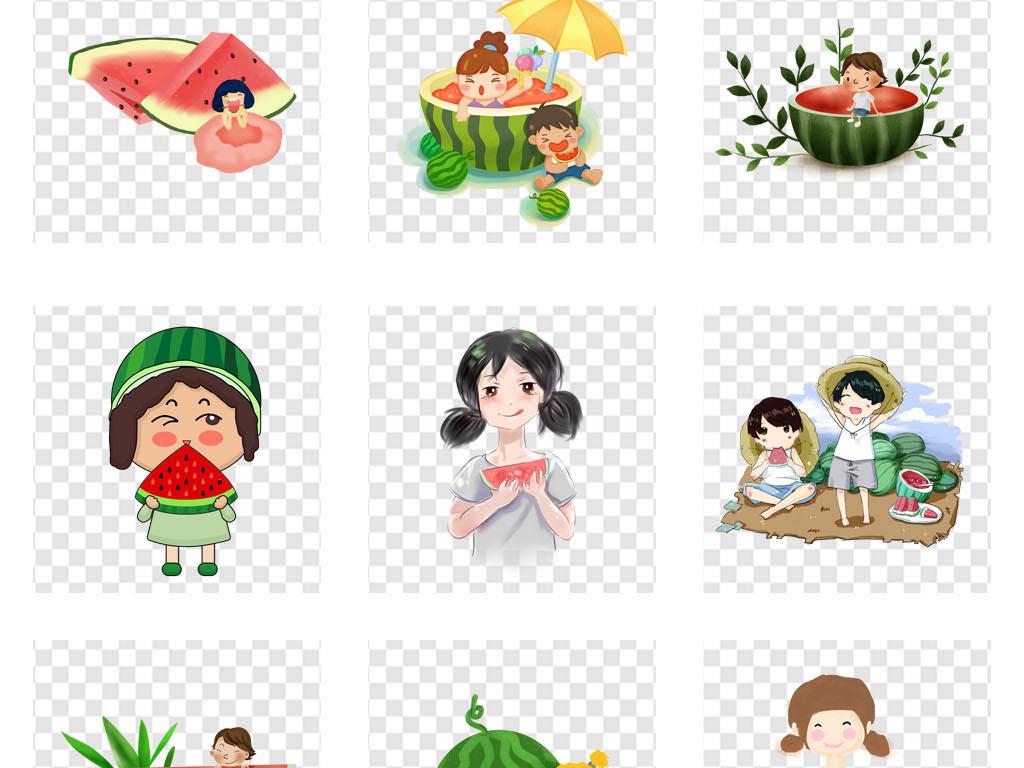 免抠元素 人物形象 动漫人物 > 夏季清凉西瓜促销吃西瓜海报背景png