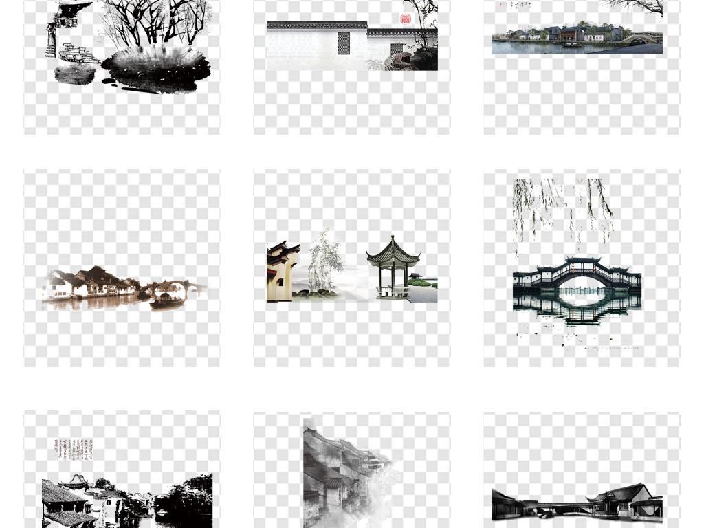 水墨江南中国风手绘水乡古建筑png素材