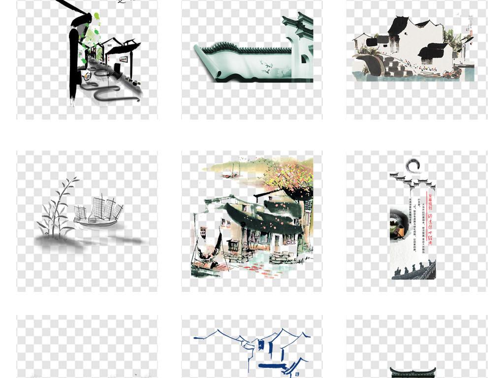 屋顶中国古建筑古镇水墨风水乡水墨画中国风古典风黑白古风手绘建筑