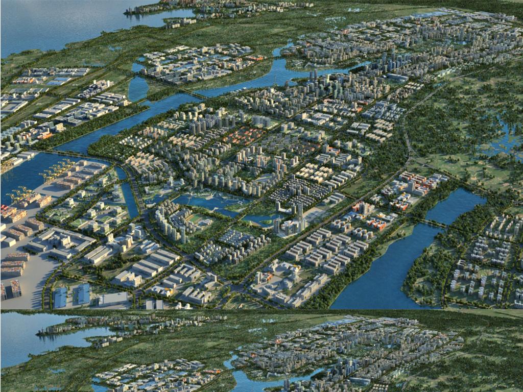 超大港口城市场景码头鸟瞰沿海城市城市大场景设计图图片