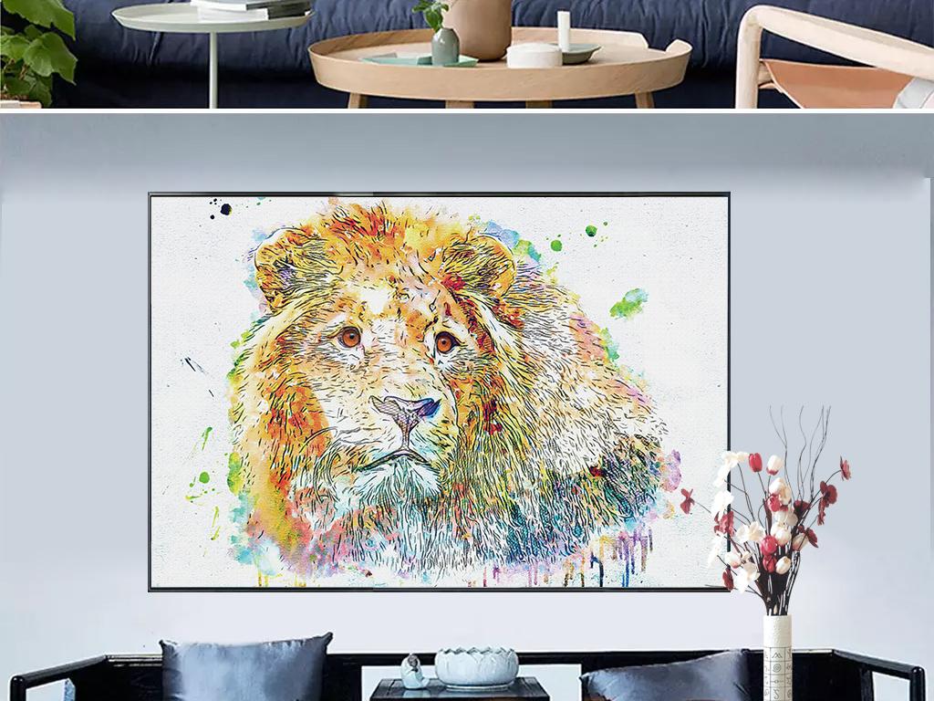 新中式水彩手绘金粉狮子动物装饰画