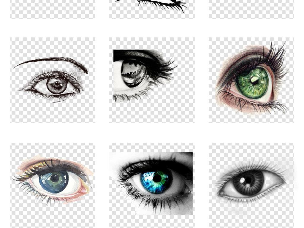 卡通手绘水彩眼睛眼球眼神哭泣流泪海报png设计素材
