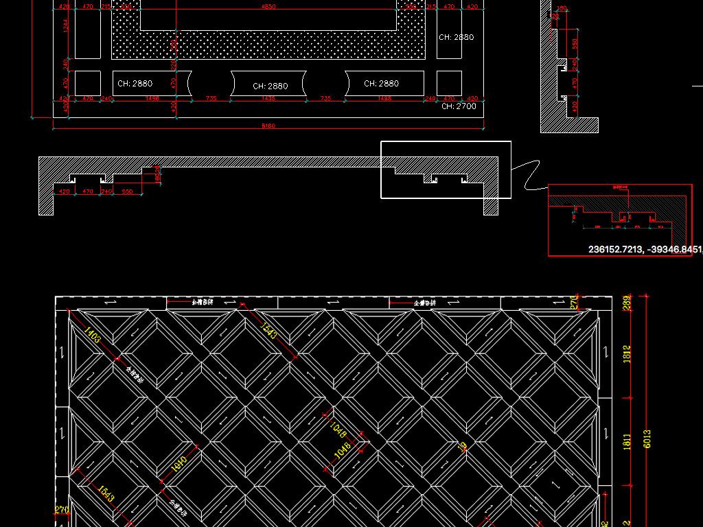 CAD天花吊顶整木吊顶CAD图带剖面平面设计图下载 图片17.08MB
