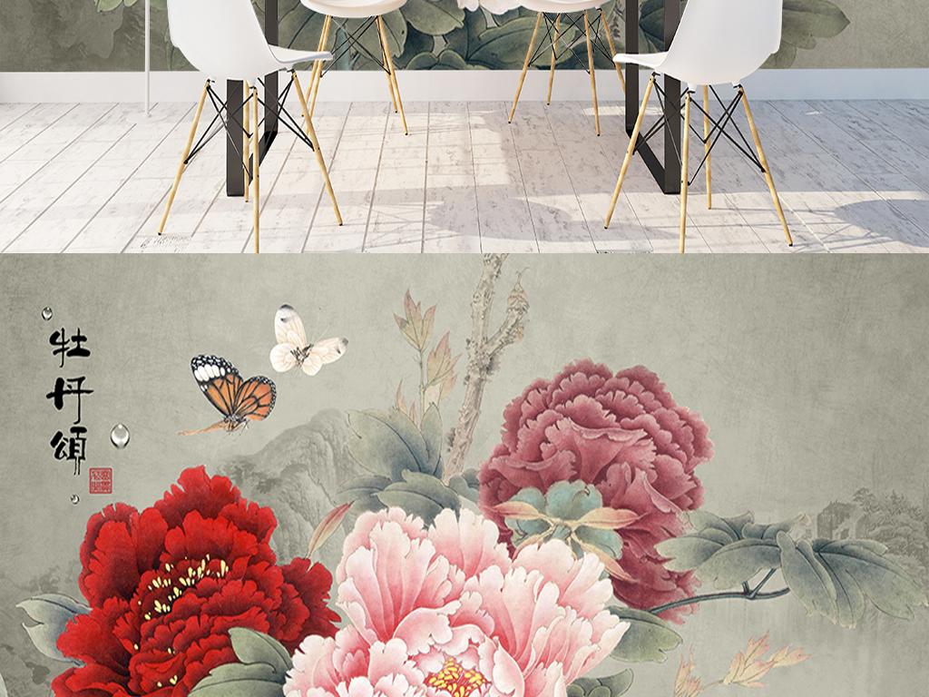 新中式手绘古典牡丹沙发电视背景墙