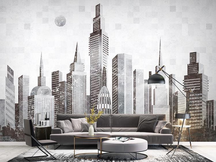 北欧现代简约抽象城市建筑电视沙发背景墙