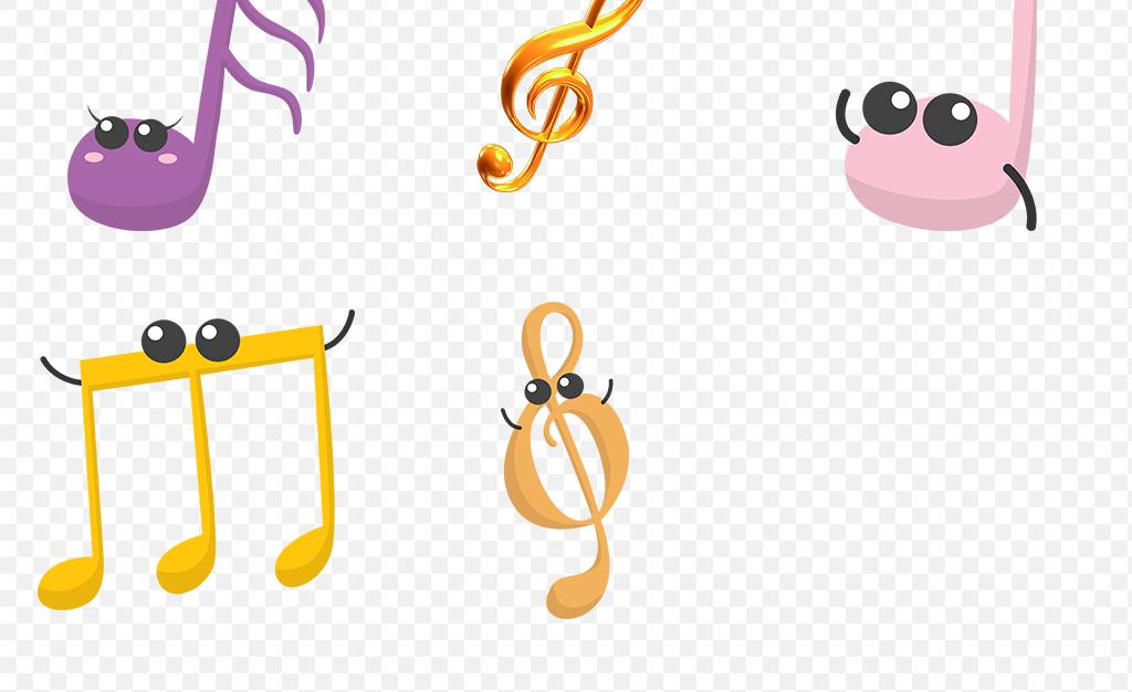 彩色卡通音符海报素材背景png免抠透明设计