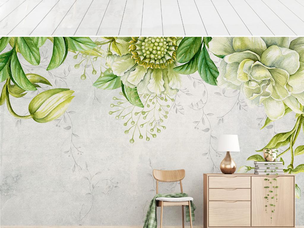 北欧手绘小清新绿叶植物客厅电视背景墙