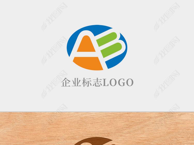 创意椭圆形字母AB标志logo