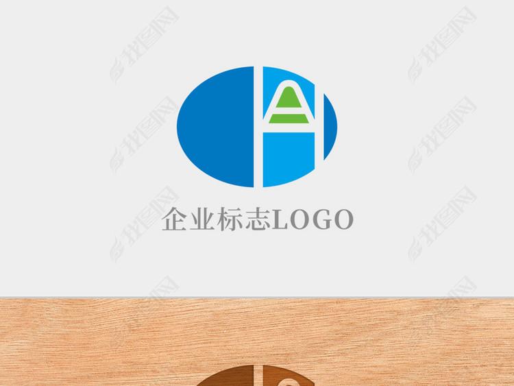 创意椭圆形字母AH标志logo