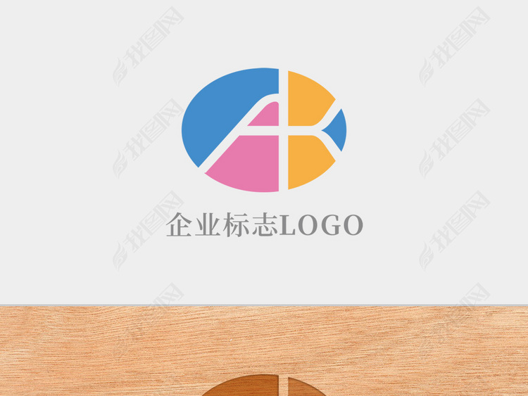 创意椭圆形字母AK标志logo