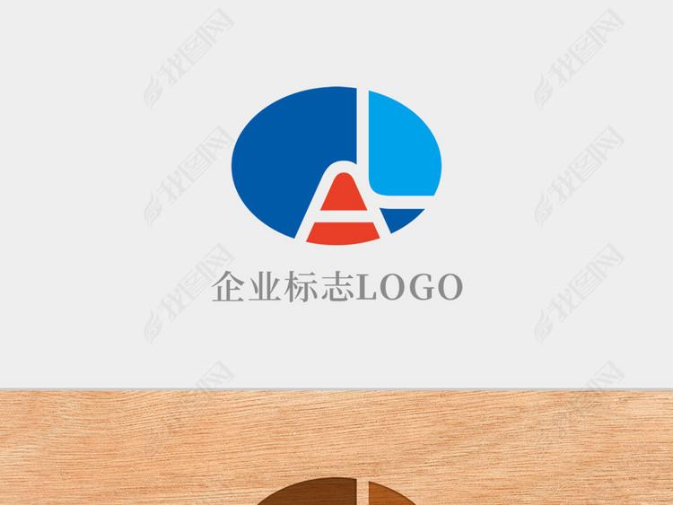 创意椭圆形字母AL标志logo