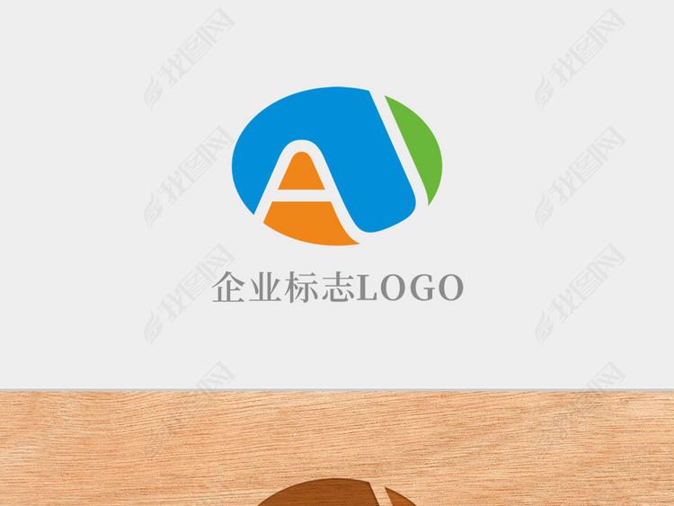 创意椭圆形字母AU标志logo