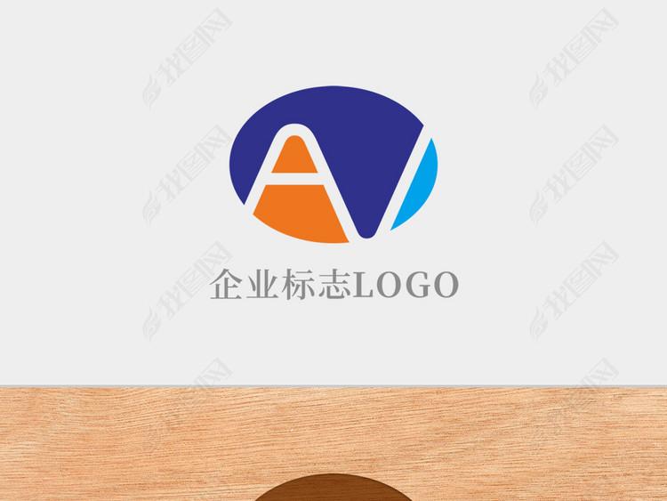 创意椭圆形字母AV标志logo