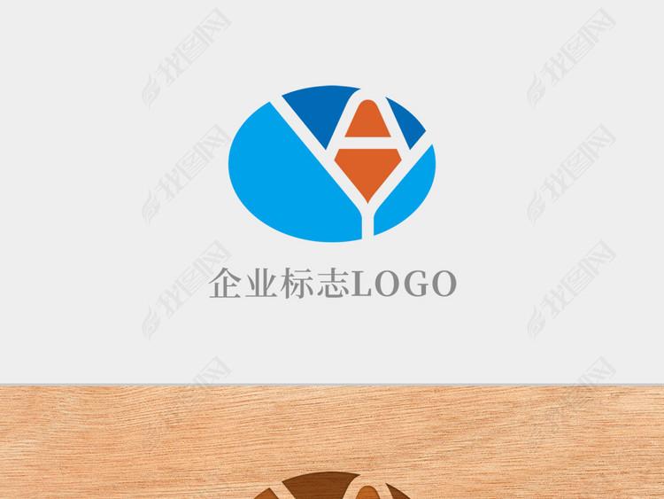 创意椭圆形字母AY标志logo