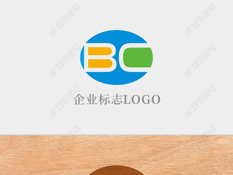 创意椭圆形字母BC标志logo