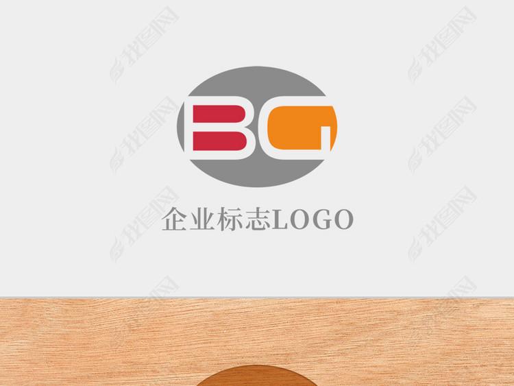 创意椭圆形字母BG标志logo