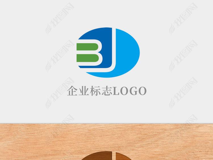 创意椭圆形字母BJ标志logo