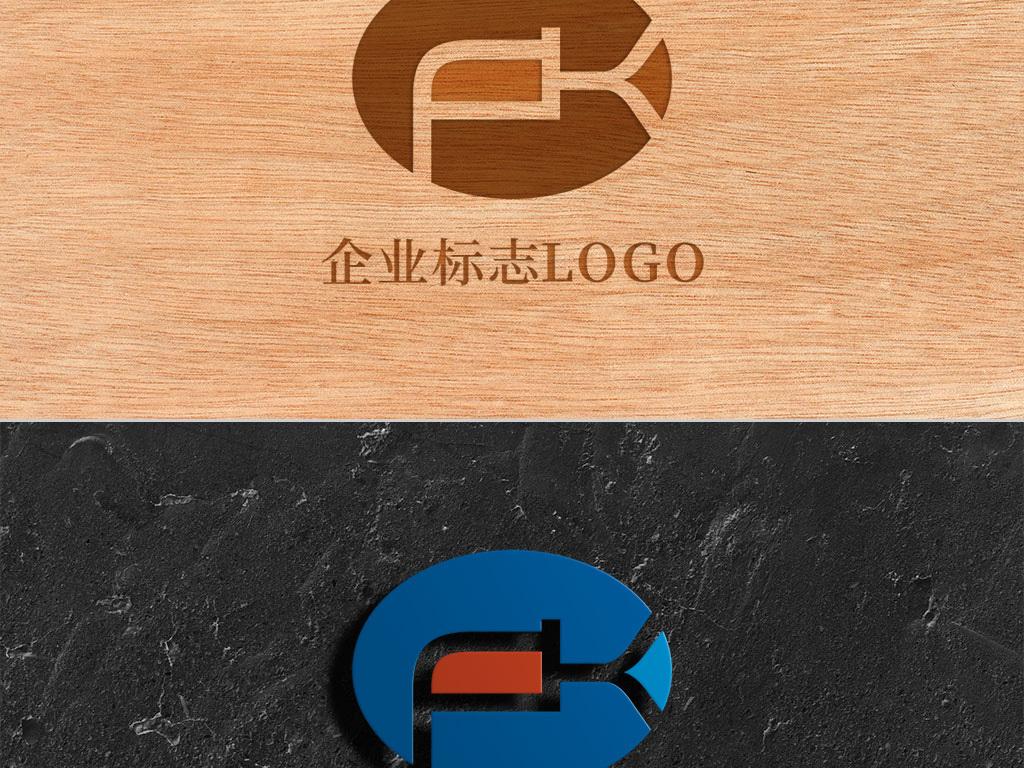 创意椭圆形字母fk标志logo
