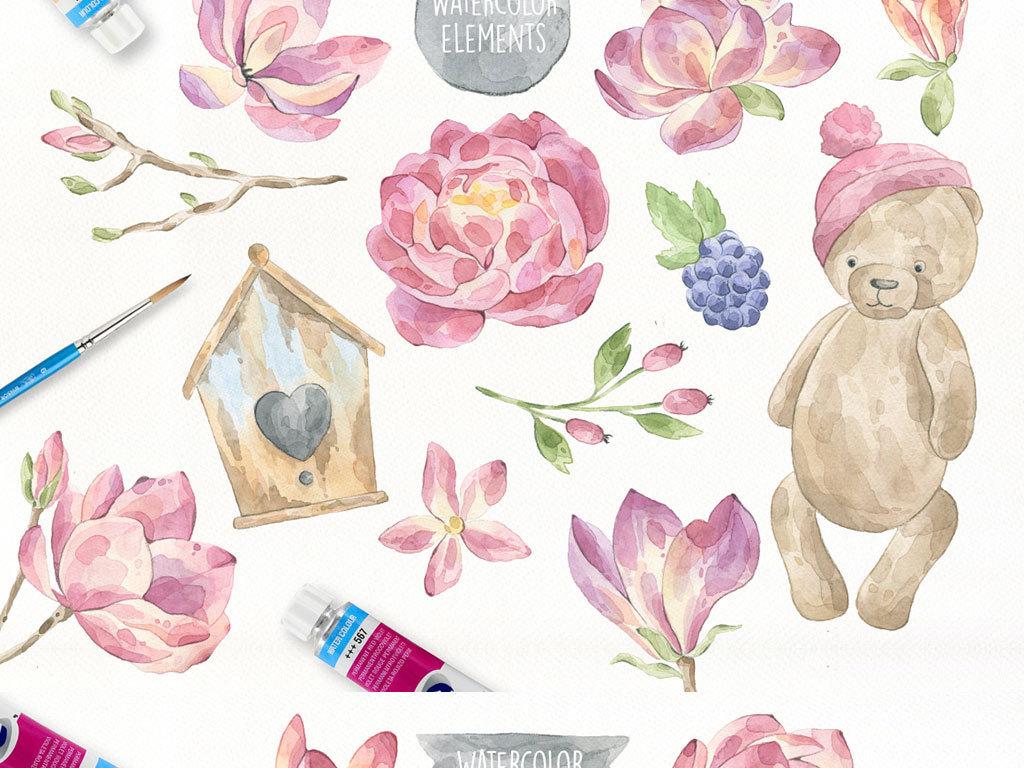 手绘水彩动物兔子熊行李箱荷花梅花叶子鸟png免抠设计