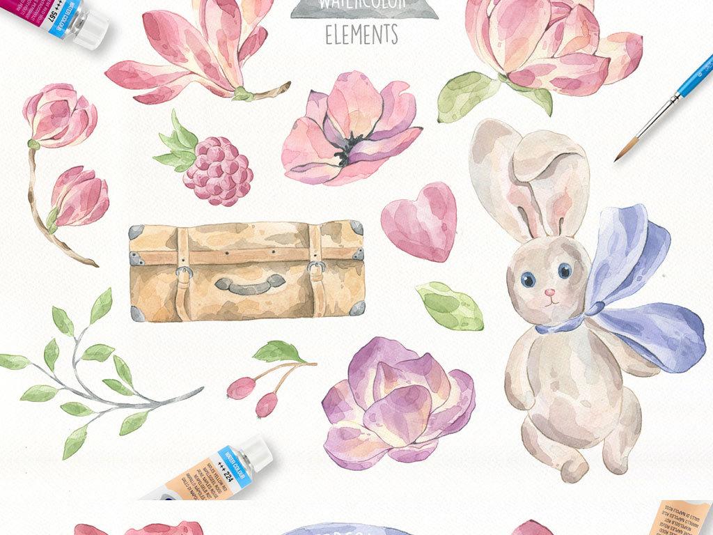 水彩动物动物卡通手绘背景行李箱手绘梅花手绘荷花动物叶子水彩水彩叶