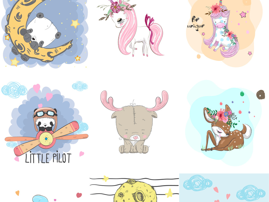 矢量水彩卡通动物素材可爱动物