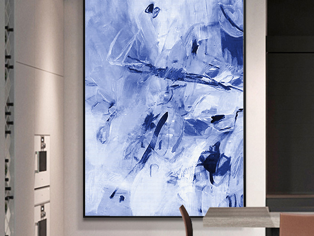 手绘油画北欧简约风格蓝色抽象无框装饰画