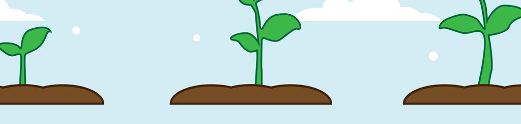 植物自由生长过程矢量小清新插画图片