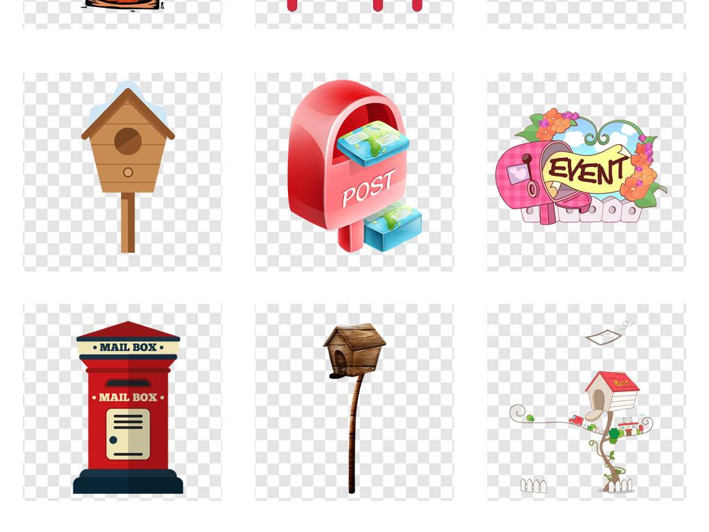 信箱邮箱图标卡通画册海报背景png素材