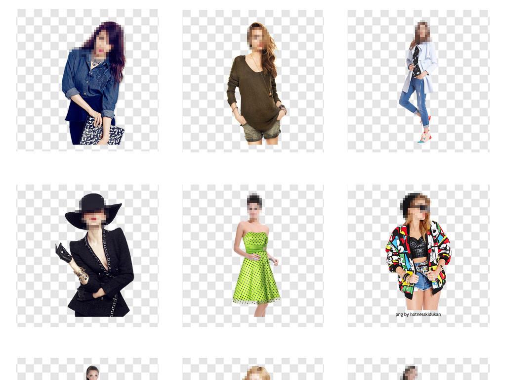 女装女模特服装时尚半身详情页png素材