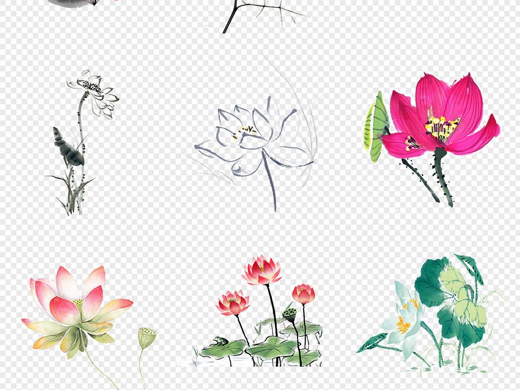花朵荷花剪纸古风手绘荷花荷叶荷花图水墨荷花手绘荷花素材手绘水墨