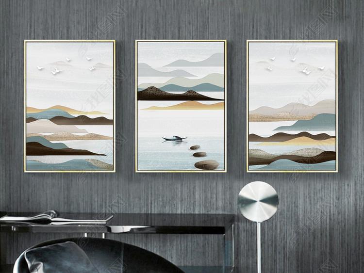 山水风景抽象手绘油画流水生财北欧装饰画