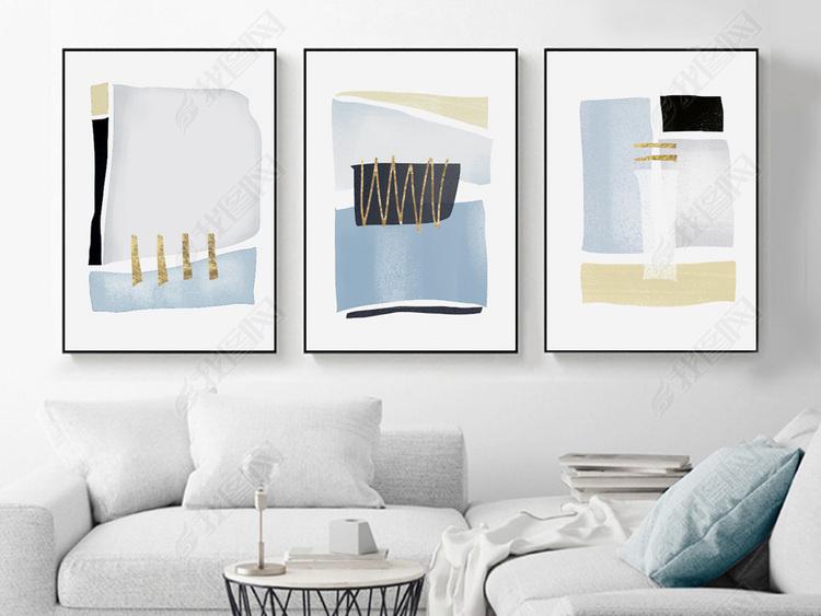 小清新抽象油画现代简约几何北欧装饰画