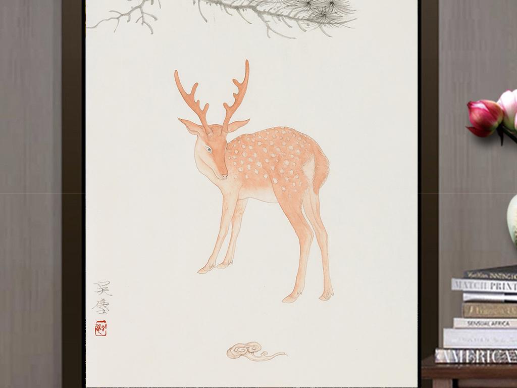 新中式手绘国画梅花鹿工笔画无框画装饰画玄关