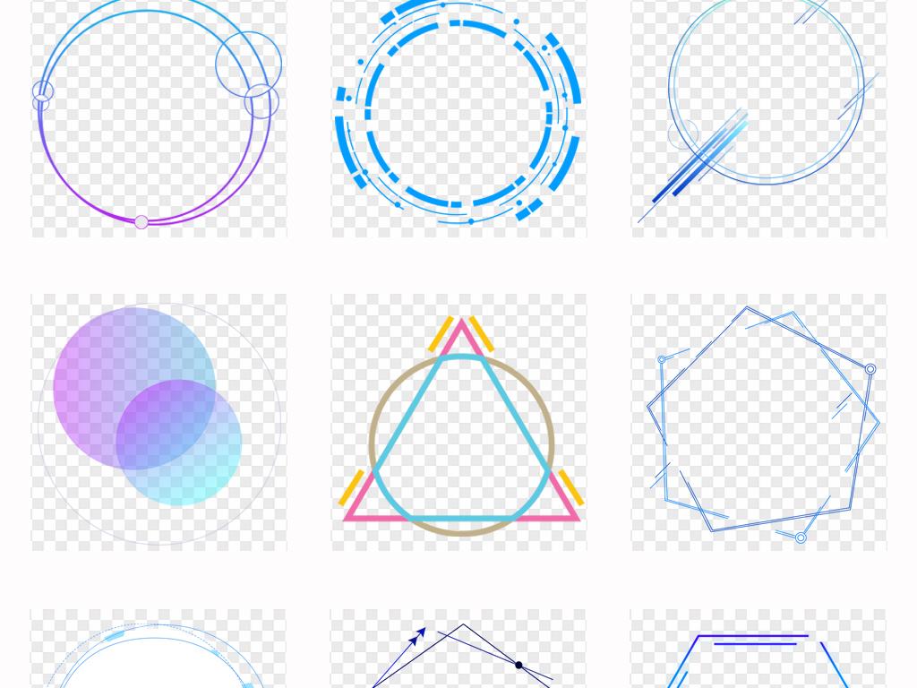创意抽象蓝色科技感曲线边框圆环边框png素材图片