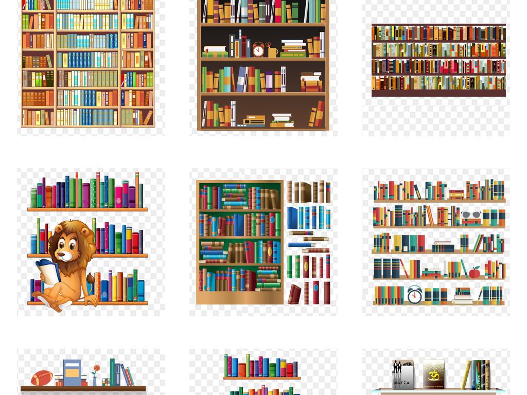 png素材卡通图书馆书架展架海报背景图片