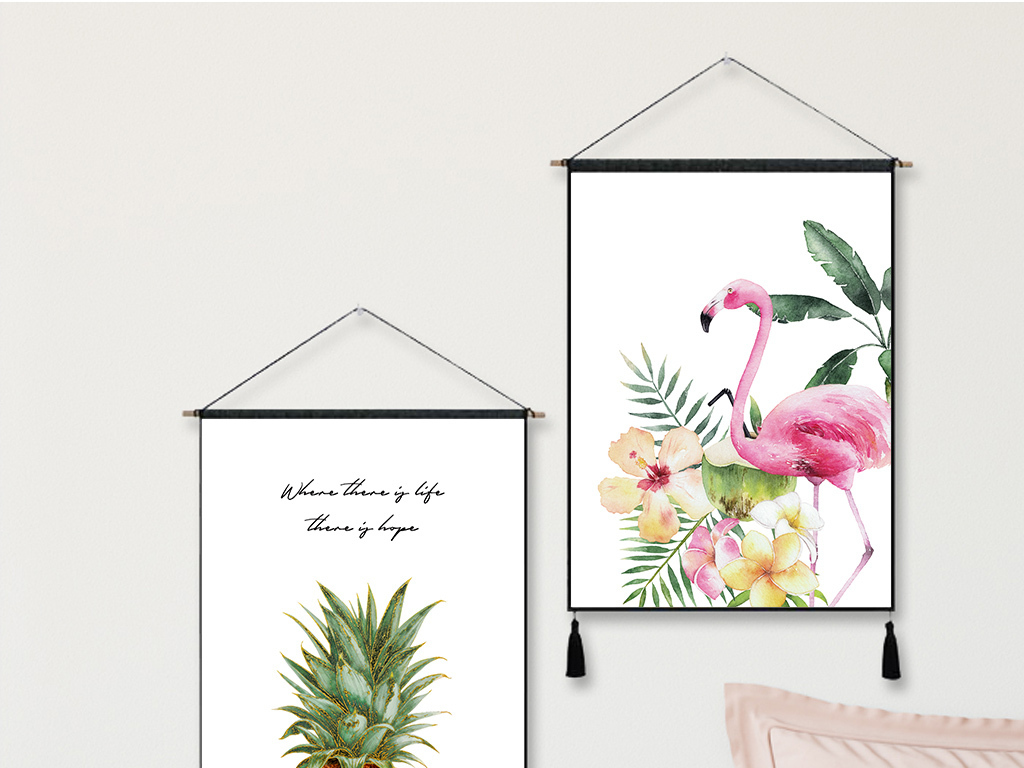 ins北欧风火烈鸟菠萝热带植物挂毯挂布装饰画