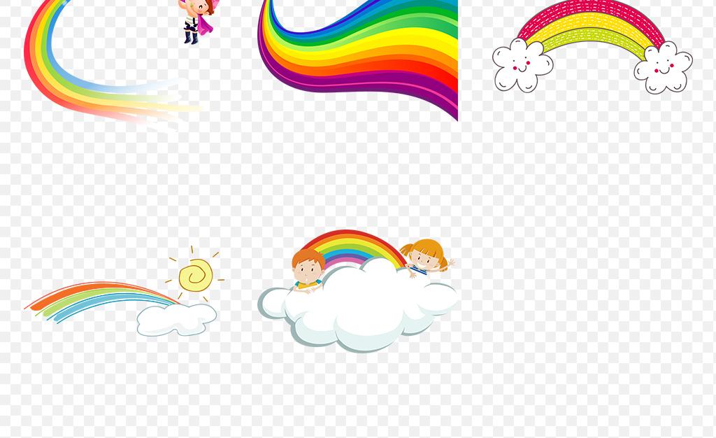卡通手绘唯美彩虹水彩彩虹海报素材背景png