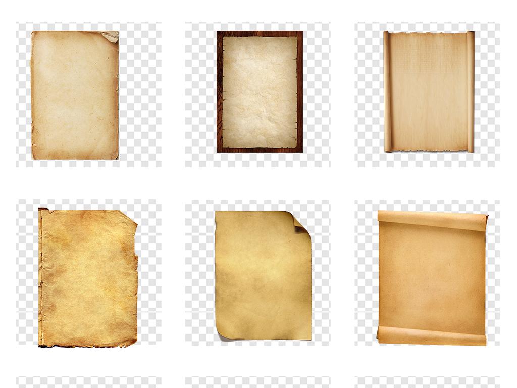 免抠元素 花纹边框 底纹 > 牛皮纸旧纸古老圣旨卷轴背景png透明素材