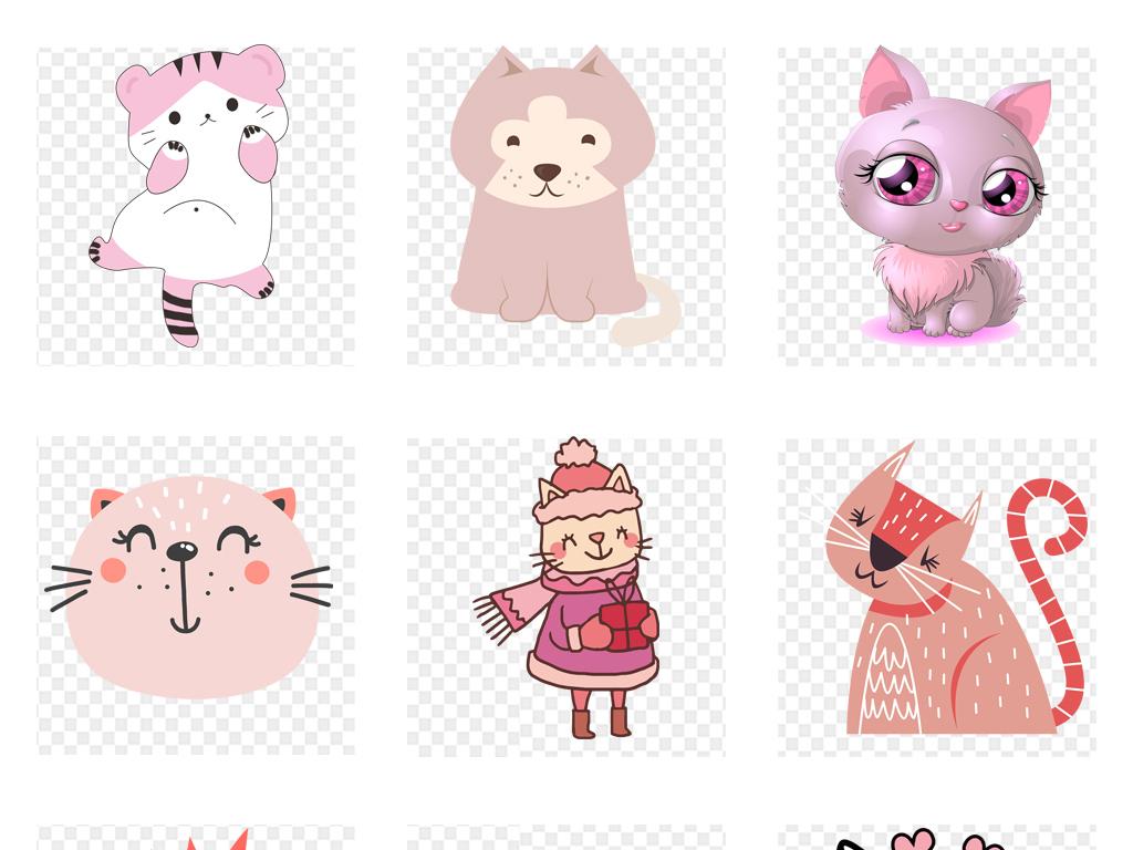 手绘可爱粉色猫咪插画png背景设计素材