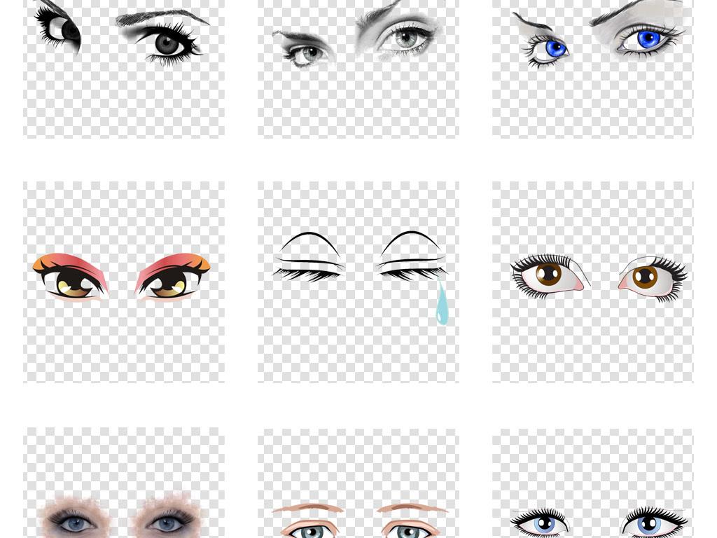 卡通手绘眼睛眼球眼神高兴哭泣表情png免扣素材