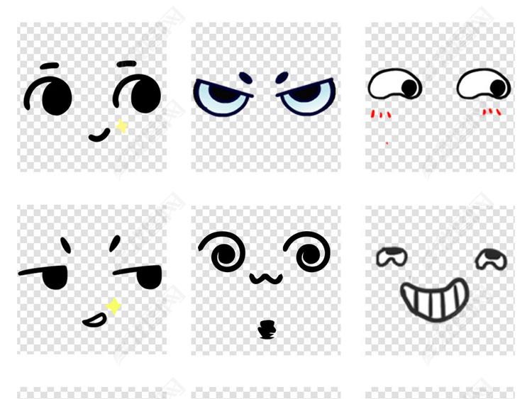 50款卡通五官大眼睛表情包视频PNG设计素材