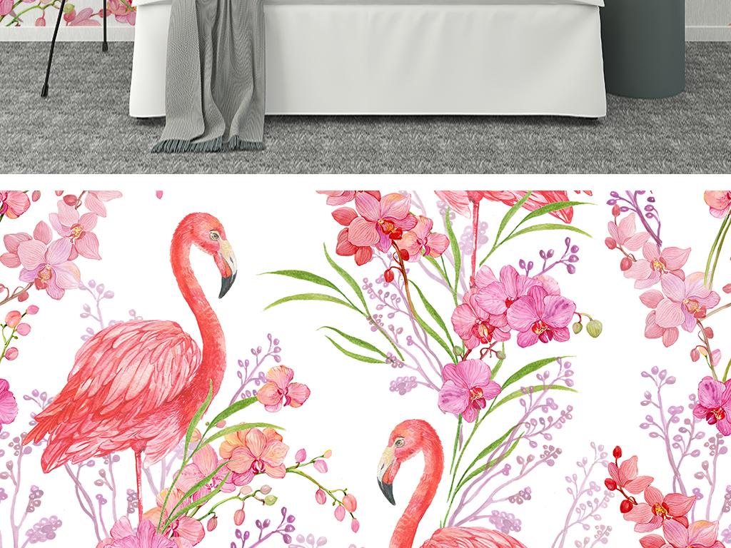 火烈鸟鲜花北欧手绘背景墙