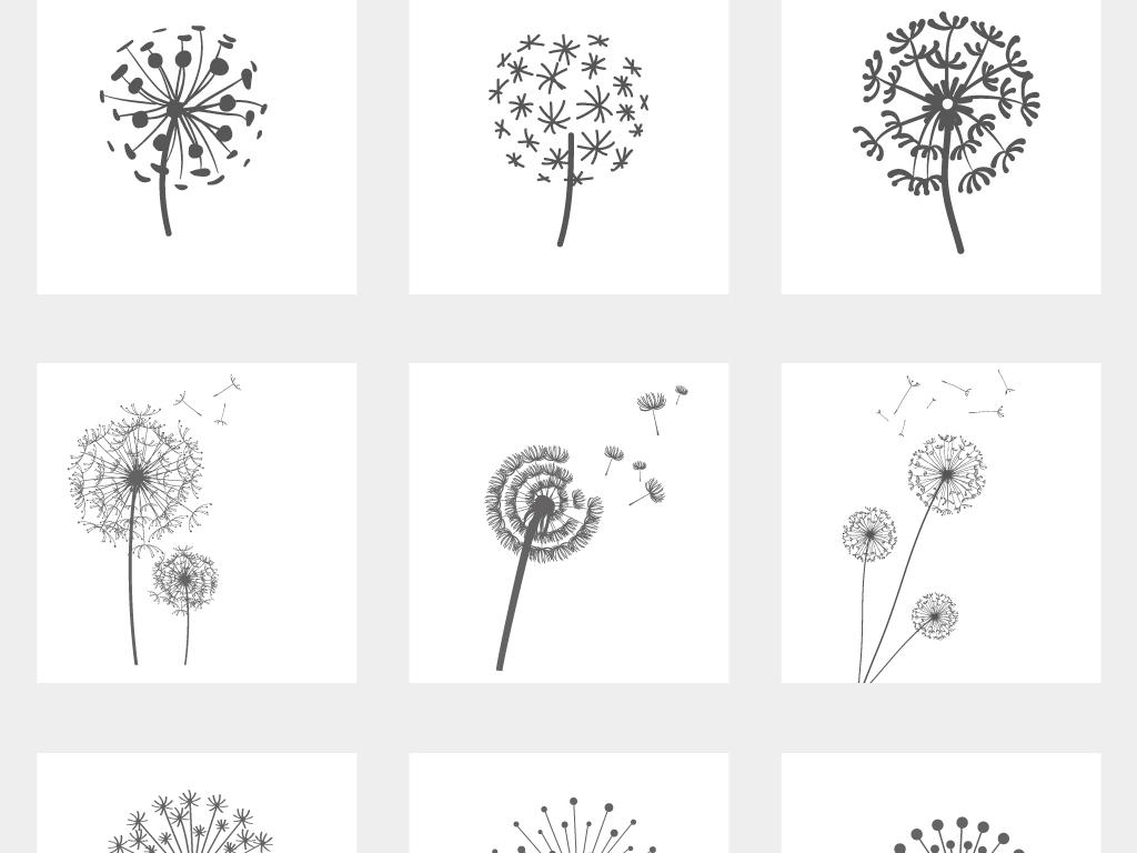 植物手绘高清图片黑白
