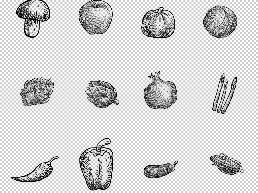 黑白手绘线条蔬菜水果树木树叶png免扣素材