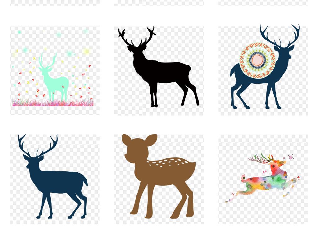 水彩手绘梦幻鹿创意森林鹿剪影png海报素材