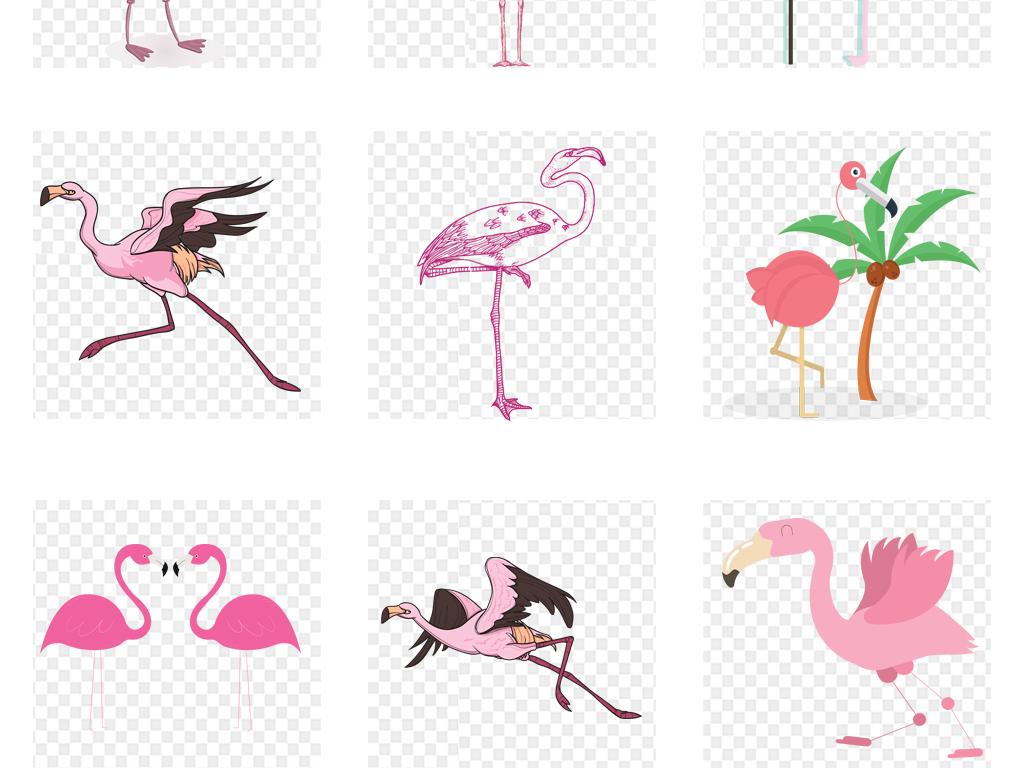 卡通手绘森系火烈鸟背景墙壁纸壁画装饰画素材