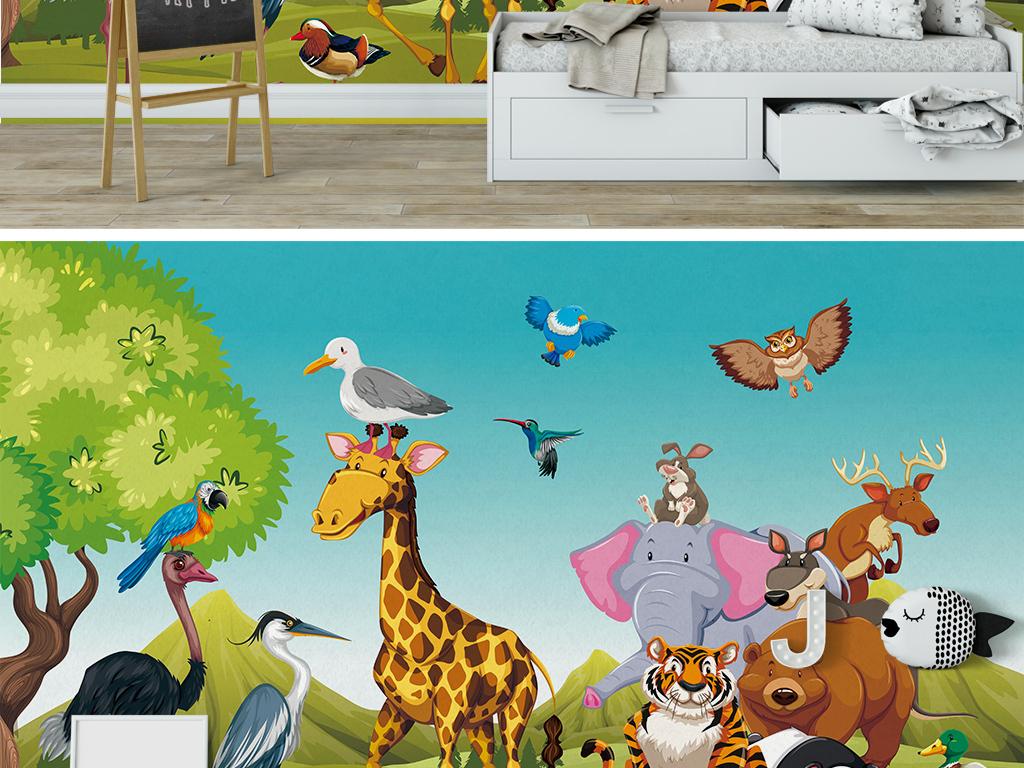 可爱手绘卡通森林动物儿童房背景墙壁画