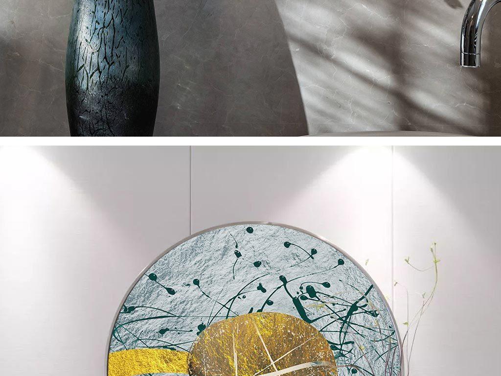 新中式圆形石头线条装饰画